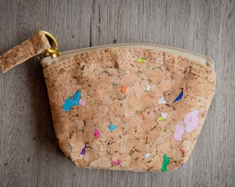 Coin bag handmade from cork with color dots, Coin Purse, Mini wallet, handmade and vegan.