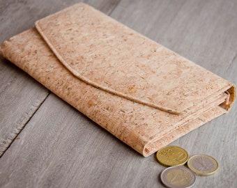 Wallet made of cork, handmade and vegan purse  (Nature)