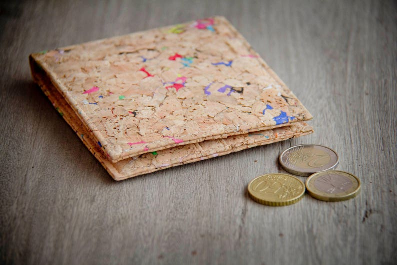 Wallet made from cork with color dots handmade and vegan image 0