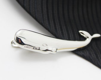 Whale, Tie Clip, Hero Accessories, Silver Accessories, Novelty Accessories, Gift For Man