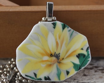 Broken China Pendant of Yellow Daisy #2