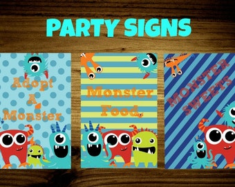Little Monster Birthday Party Signs-Adopt a Monster-Monster Food-Monster Sweets-PhotoBooth