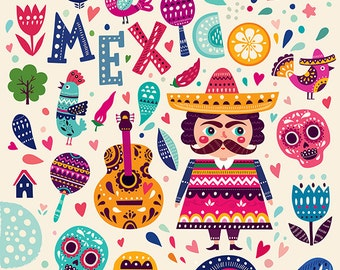 Colorful symbols of MEXICO. Día de Muertos. Fine art PRINT. Beautiful print for living room or kids room.