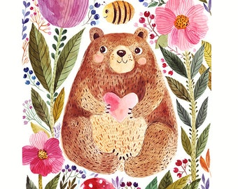 Cute bear, flowers, bee in watercolor technique. Fine art print. Beautiful print for living room or kids room.