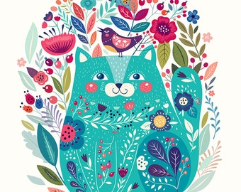 Amazing pattern with BLUE CAT and floral elements. Art PRINT. Beautiful print for living room