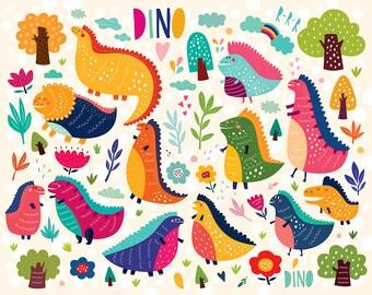 Dinosaur Clipart Dinosaur Nursery Dinosaur vector Dinosaur Digital Dinosaur Birthday card EPS Png Digital Download Dinosaur seamless