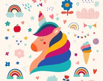 Unicorn Svg Unicorn Print Rainbow svg Rainbow clipart Rainbow digital Rainbow vector Baby clipart Instant download Png Digital print