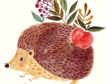 Cute HEDGEHOG with apple in WATERCOLOR  technique POSTER. Fine art print. Print for living room or kids room.
