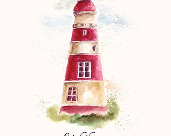 WATERCOLOR illustration of colored LIGHTHOUSE. Fine art PRINT. Beautiful print for living room or bedroom.