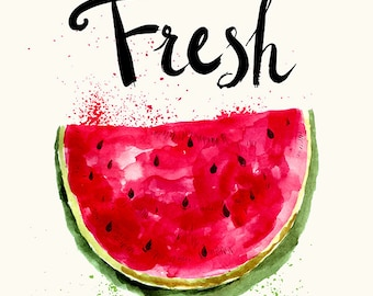 Red fresh watermelon in watercolor technique. Fine art print. Beautiful print for living room or dinner room