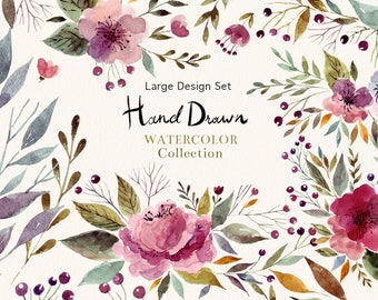 Floral watercolor CLIP ART. Hand painted clipart for wedding invitation and greeting card