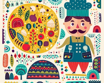 Colorful pattern with decorative pizza & funny COOK. Fine art PRINT. Beautiful print for living room, dinner room