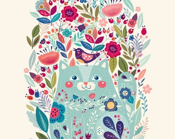 Amazing Art Print with cute Cat, Bird and Flowers