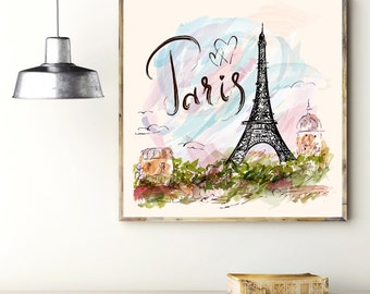 Amazing Art Print: PARIS. WALL ART Decor. Poster with the Eiffel Tower