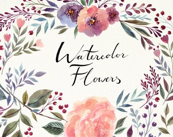 Floral watercolor CLIP ART with beautiful floral wreath. Hand painted clipart for wedding invitation and greeting card