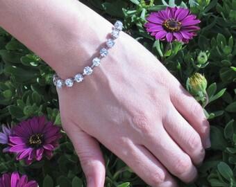 Swarovski Crystal bracelet, Silver plated Crystal bracelet, Cup chain bracelet, best friend bracelet, Tennis Bracelet, Bridesmaid Gift