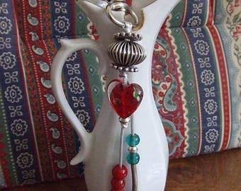 Red glass heart bag charm