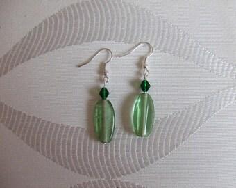 Silver glass bead earrings