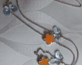Spring butterflies and flowers necklace
