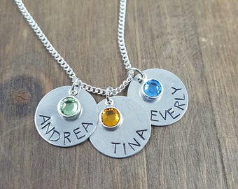 Personalized Handstamped Mother's Necklace - Names and Birthstones of Children - Mother/Grandmother's Necklace - Mother's Gift