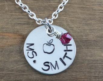 Personalized Teacher Name Necklace - Hand stamped Necklace - Apple Necklace - Teacher Gift