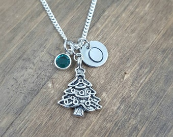 Personalized Christmas Necklace - Hand stamped Monogram Christmas Tree Necklace - Holiday Necklace