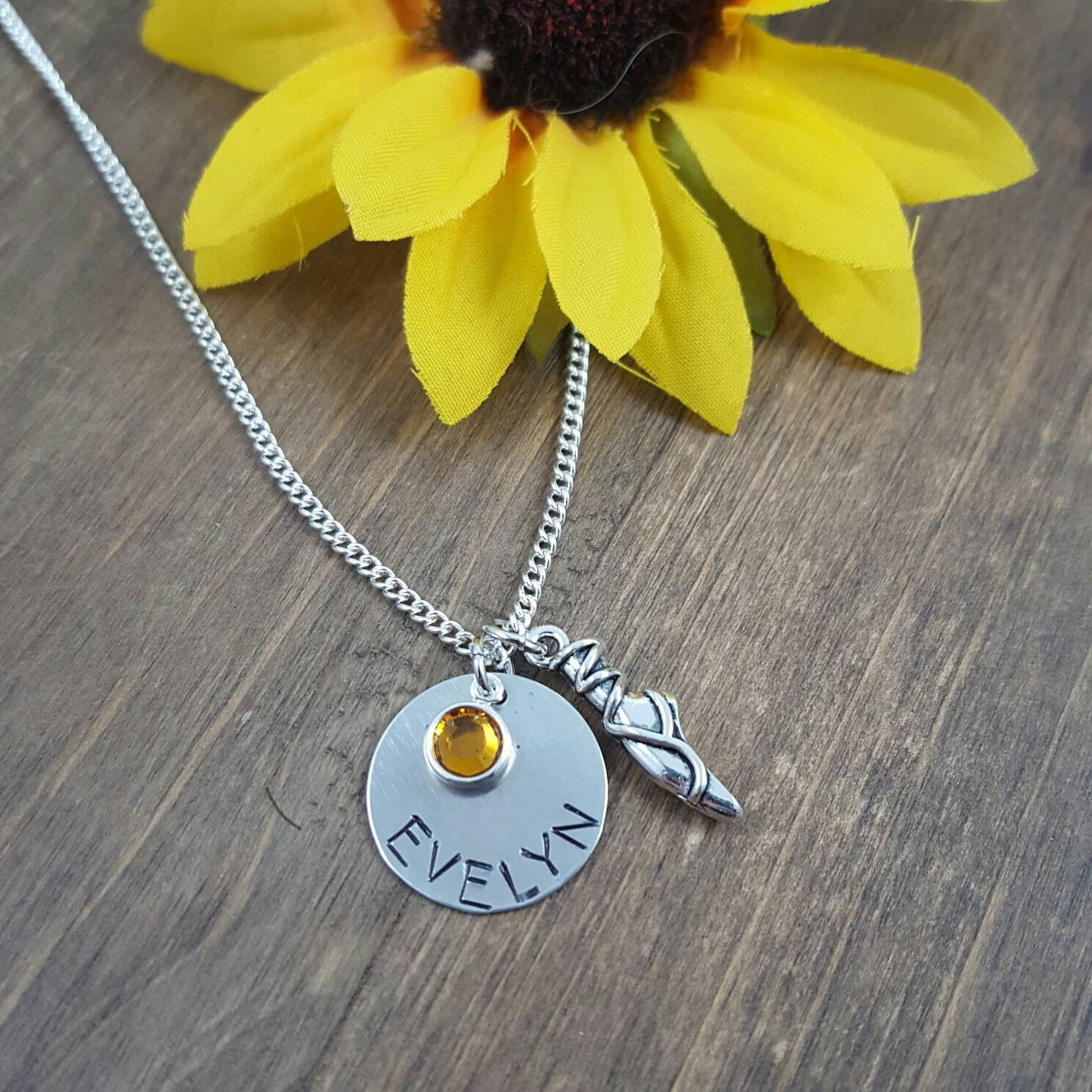 personalized ballet necklace - hand stamped name necklace with ballet shoe charm - custom ballet jewelry