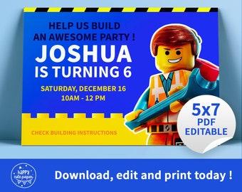 Emmet Lego City Birthday Party Invitation EDITABLE