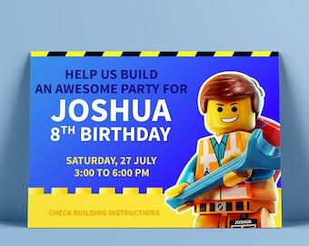 Lego Party Birthday Invitation