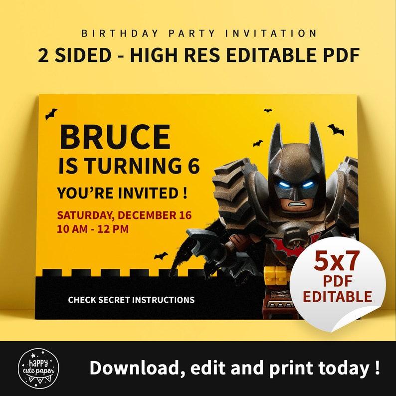 Batman Lego City Birthday Party Invitation EDITABLE - Instant download -  Boy invitation Custom Printable Digital Template