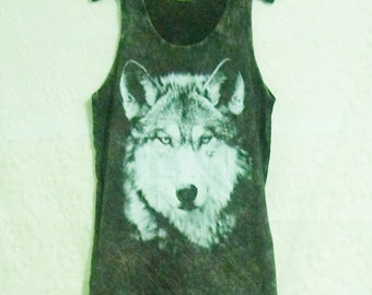 Wolf face tank top size M bleach tanks wildlife animal workout shirt/ muscle tank/ teen tank top /women shirts/ sale clothings