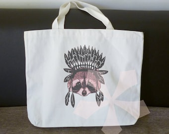 Native bag raccoon feather tote bag 18x14 inch/ large cotton bag/ shopping bag/ books tote bag/