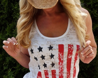 4th of July Top Women. American Flag Tank Top. Patriotic Clothing. July 4th Tank. America. Red White and Blue, Workout Tank. USA