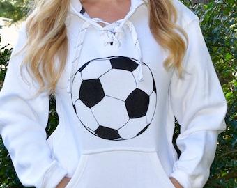 36f004b2b6c Soccer Hooded Sweatshirt. Soccer Hoodie. Lace Up Sweatshirt. Soccer Ball  Sports Hoodie. Soccer Mom Fashion Clothing. Soccer Dad.