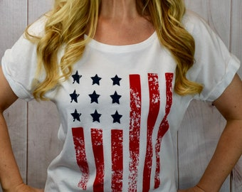 4th of July Womens Shirt. American Flag Top. Off Shoulder Top. Graphic Tshirt. Country Music. USA shirt. Merica Top