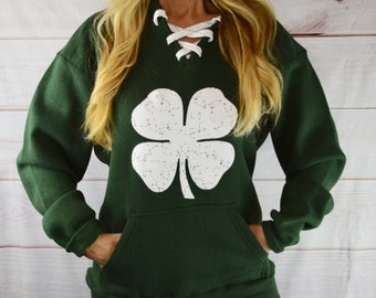 Womens Girls Cat Ear Pullover Hoodie Shamrock Love Cropped Sweatshirts