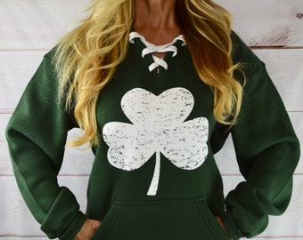 St. Patrick s Day Shamrock Sweatshirt. Shamrock Shirt. St Patricks Day  Shirt Hoodie. Drinking Shirt. Shenanigans. Lace Up sweatshirt. 465d9f8312a2