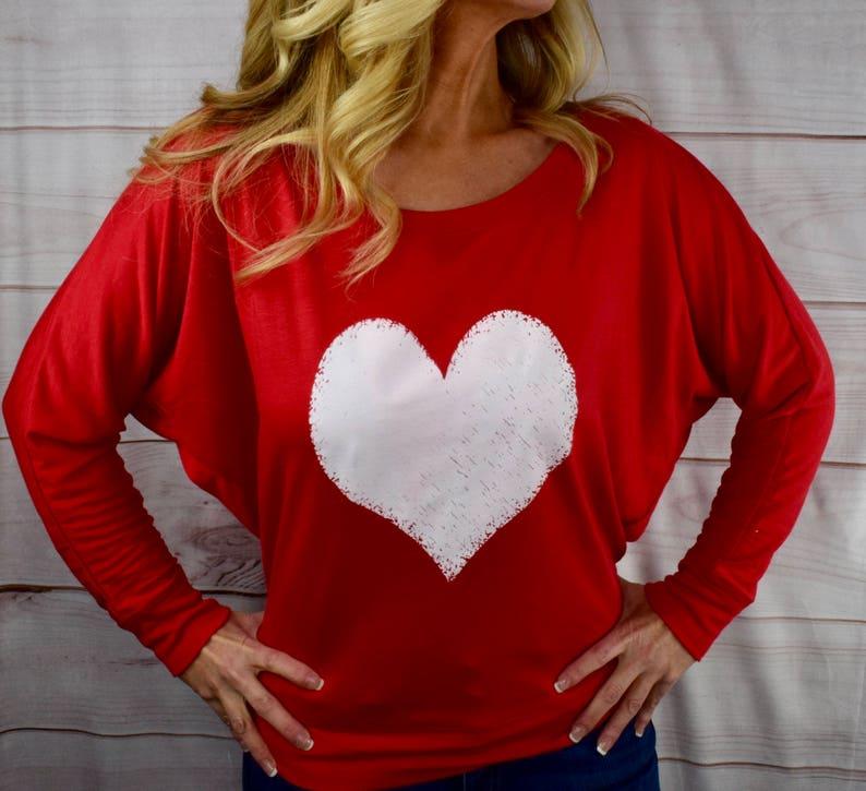 48b714637ff1f Valentine s Day Shirt. White Heart Design. Off The