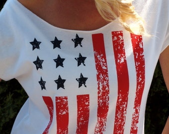 4th of July Shirt Women. American Flag Tank Shirt. Off Shoulder Top. Patriotic Top. Country Music Tank Top. Red White & Blue. Running Top.
