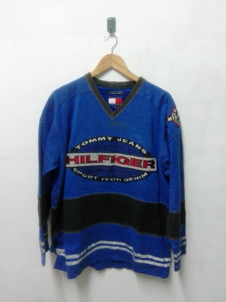 37c1ca63d032b7 Vintage Jeans Tommy Hilfiger blau Rugby Polo-Shirt Leuchten in