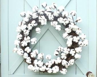 Cotton Wreath  ~ Farmhouse Decor ~ Farmhouse Wreath ~ Door Decor ~ Modern Farmhouse ~ Rustic Wreath ~ First Anniversary Gift ~ Gift for Her