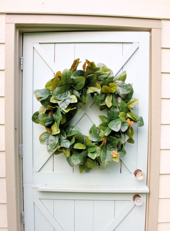 Magnolia Wreath Summer Wreath Farmhouse Decor Front Door Etsy