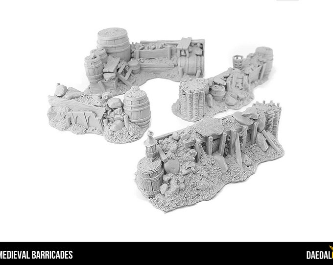 Featured listing image: Pack 4 barricades for tabletop miniature game 28mm like mordheim, warhammer fantasy, saga