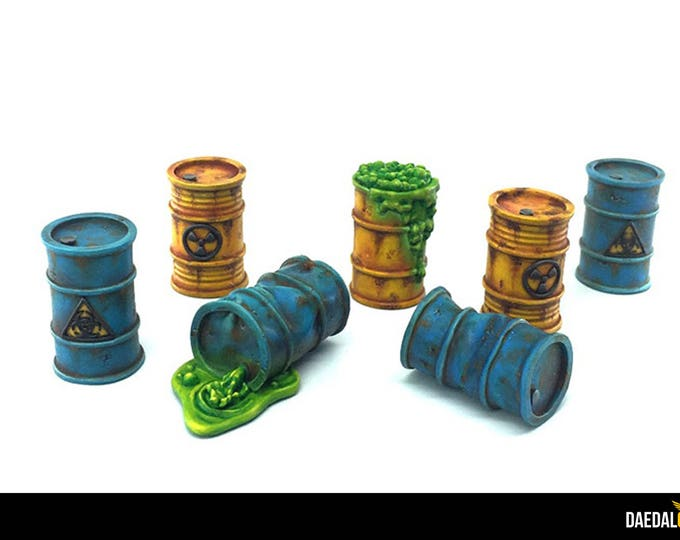 Featured listing image: Lot of 7 barrels of toxic product for miniatures games Walking dead out war, Fallout, Zombicide