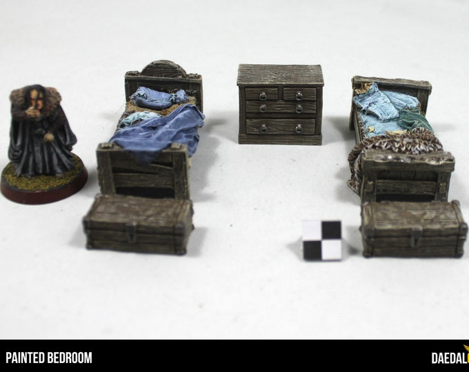 Featured listing image: bedroom dungeon furniture for miniature fantasy games