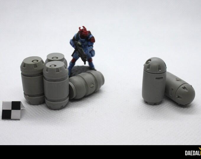 warhammer 40000 scenery : Pack 6 industrials barrels for tabletop miniature game 28mm like warhammer 40k