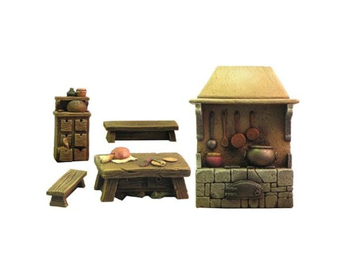 Miniature medieval kitchen furniture