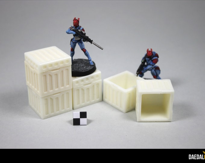 Five hollow crates for tabletop scifi miniature games