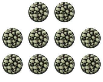 warhammer 40k 25mm round skull pile bases (x10)