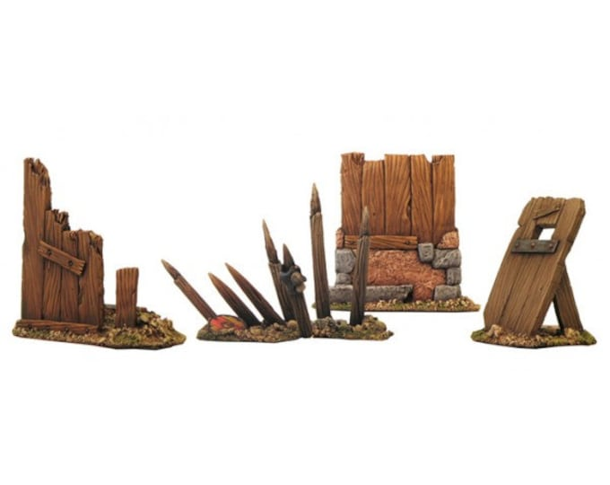 Stakes and miniature palisades for dungeons and dragons, mordheim, warhammer fantasy miniatures